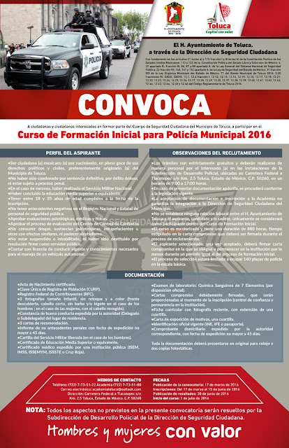 Ser policía municipal en Toluca
