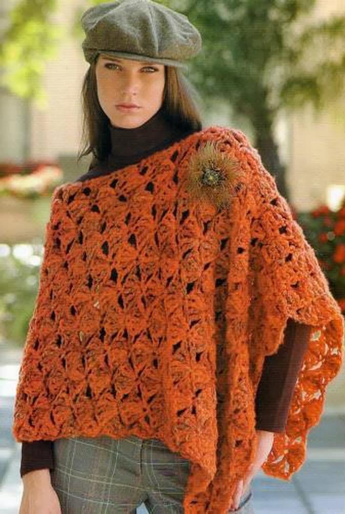 Poncho Otonal Crochet-Tricon Patron