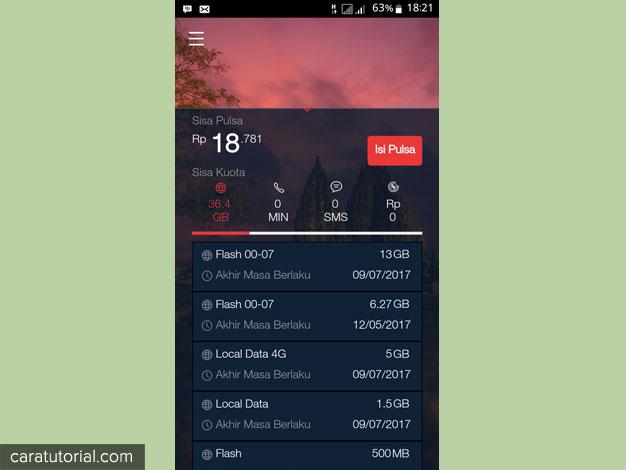 Cek Kuota Internet melalui aplikasi MyTelkomsel