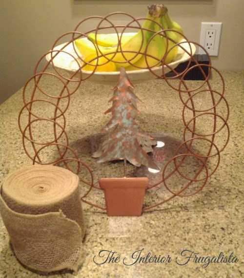 Oxidized Copper Greeting Card Holder Turned Burlap Holiday Wreath