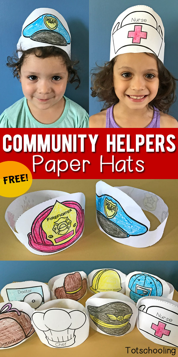 Community Helpers Printable Paper Hats Totschooling Toddler