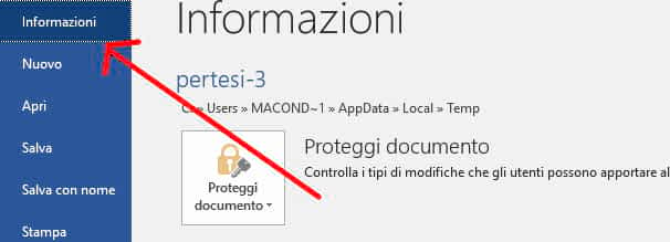 Informazioni documento Word
