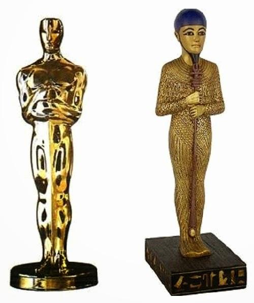 Solda, Oscar ödülü, sağda ise Mısır tanrılarından '' Phat ''
