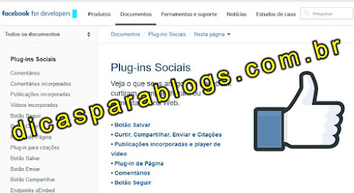 gadget do Facebook no blog