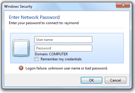 default username and password for network sharing windows 7