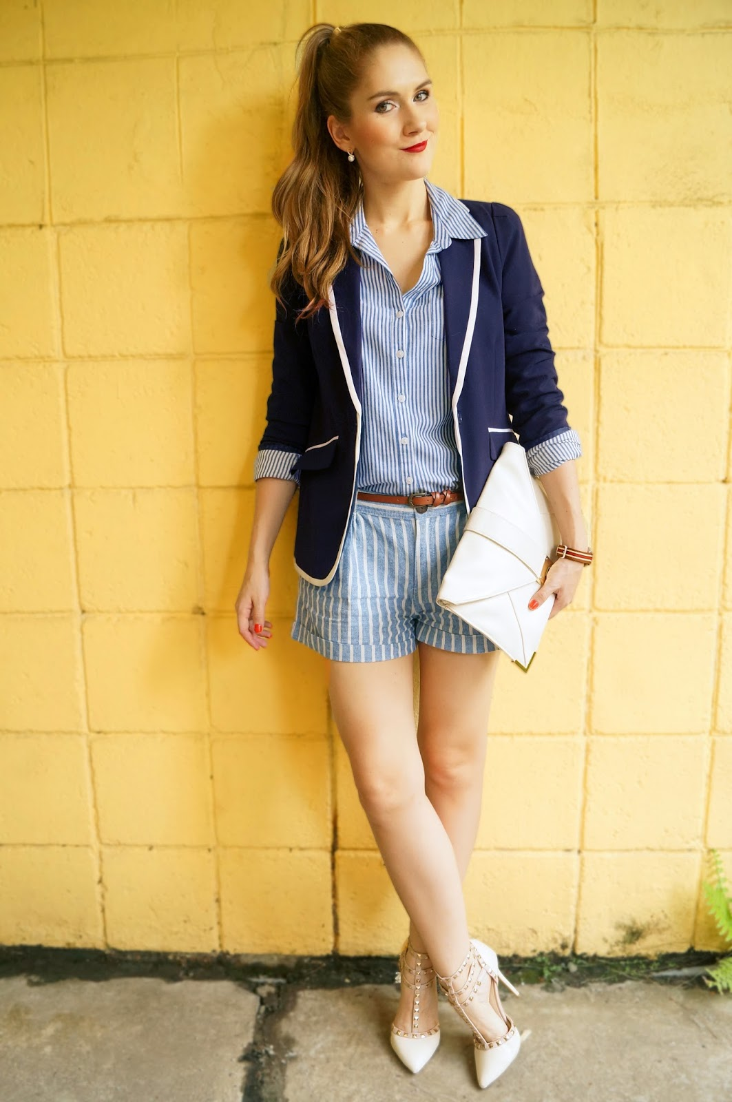 Love this nautical outfit mixing stripes!