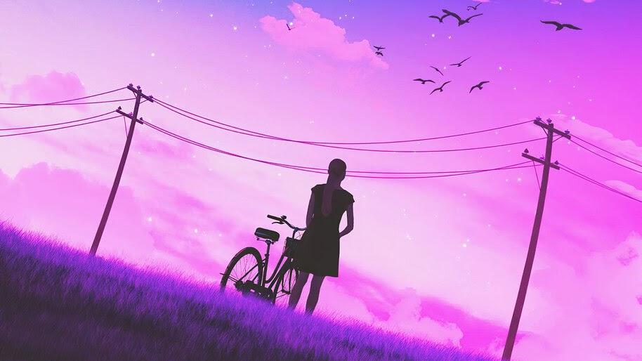 Girl, Bicycle, Night, Sky, Scenery, Silhouette, Digital Art, 4K, #6.1256