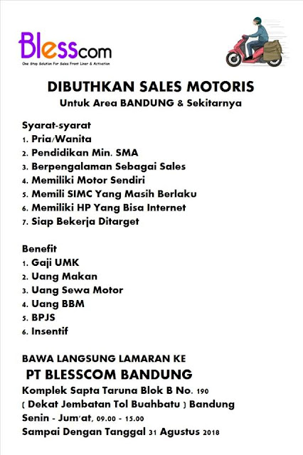 Lowongan kerja sales Motories Blesscom Bandung