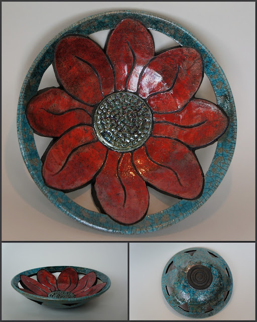 Floral raku-fired pottery ceramic bowl / plate by Lily L.