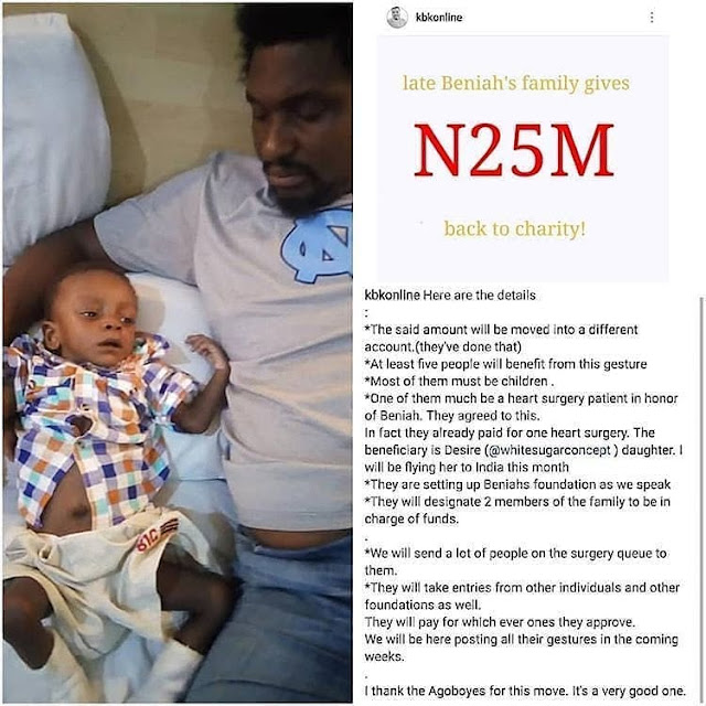 Late Baby Beniah's Family Gives back N25M out of The N80M Nigerians Donated to them for late son illness