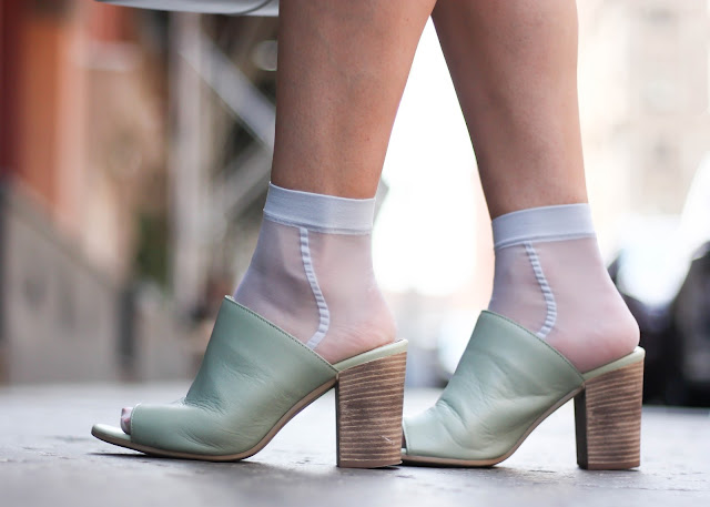 Seychelles Mint Green Mules and Sheer Socks
