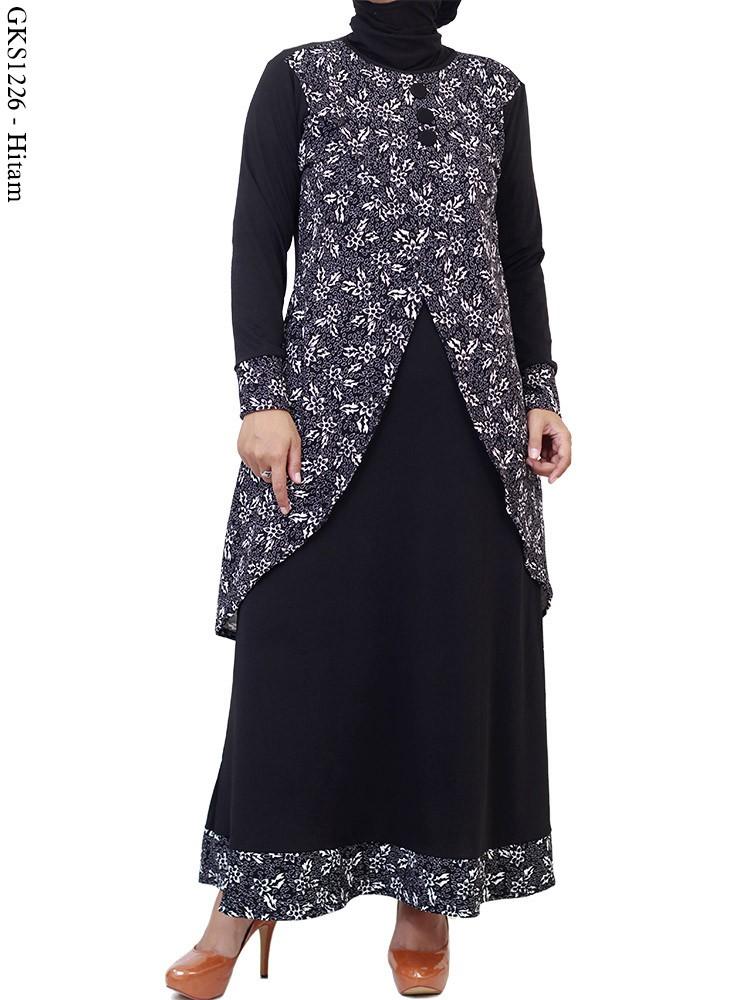 Gks1226 Gamis Jersey Motif Batik Bunga Busana Muslim