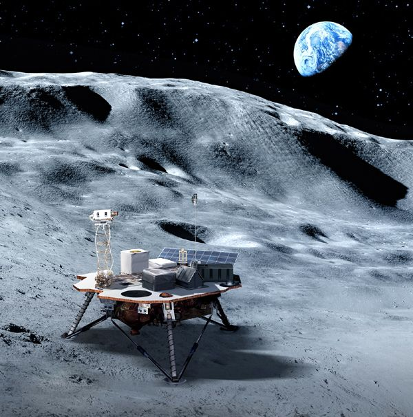 An artist's concept of a commercial lunar lander on the surface of the Moon.