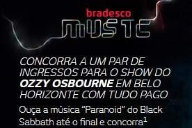 Cadastrar Promoção Bradesco Music Elo Cartão 2018 Ingressos Show Ozzy Osbourne