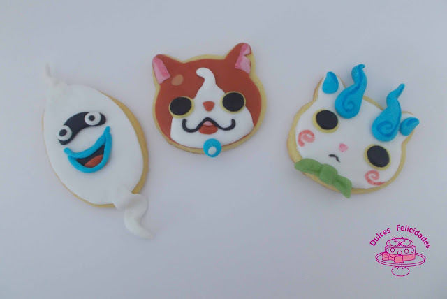 Galletas Yokai Watch fondant (Whisper, Jibanyan y Komasan)