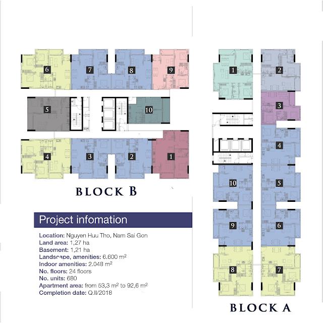 Mặt bằng căn hộ Park Vista block A B