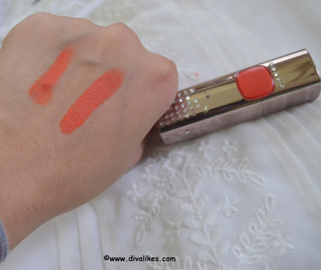 L'Oreal Paris Color Riche Moist Matte Lipstick Orange Power Swatch