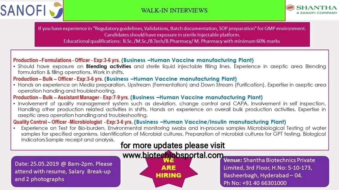 SANOFI walk-in interview at Hyderabad for Production ,QC department