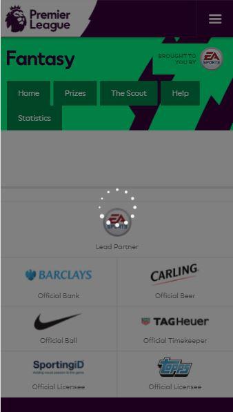Main Menu Loading Screen - Fantasy Premier League