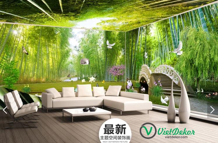Tranh 3d dán tường phong cảnh rừng trúc