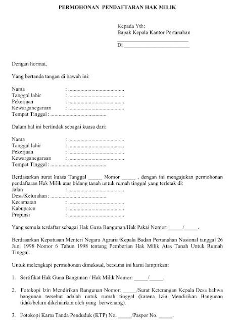 Contoh Surat Permohonan Pendaftaran Hak Milik ( Sertifikat Prona ) Format Word  Doc