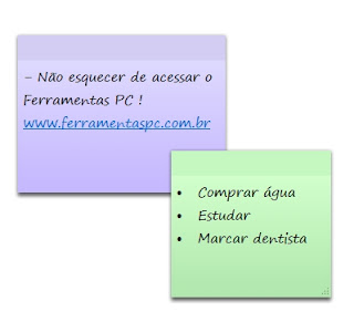 atalhos do Sticky Notes - Notas autoadesivas
