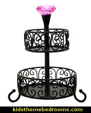 2-Tier Makeup Center with Jeweled Finial