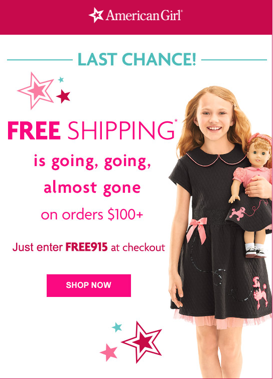 american girl free shipping today