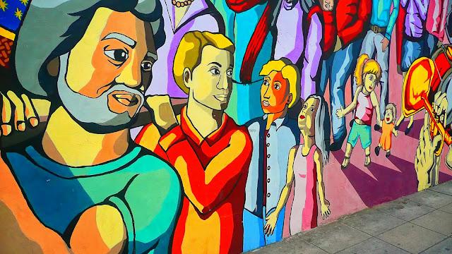 Mural pintado en pared sobre Sanchez de Bustamante