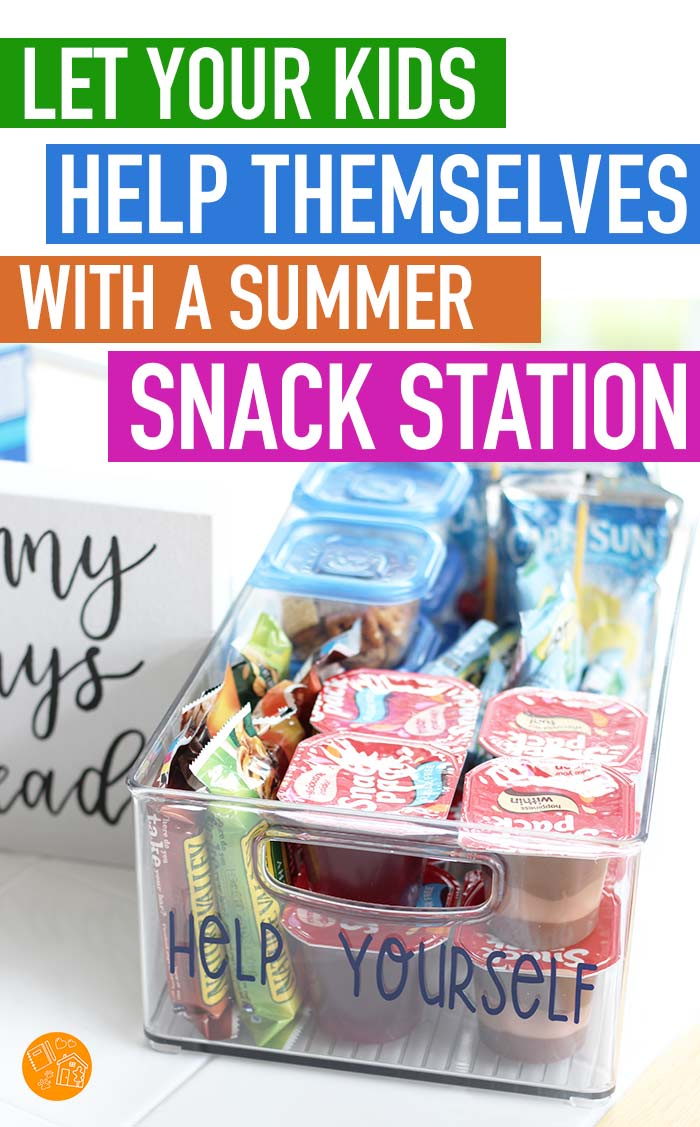 Let kids help themselves with a summer snack station stocked with family favorites! Foster independence in your kids during summer break by giving them a self serve snack station to help themselves to their favorite mom approved snacks. See how to make your own summer snack station and what to put inside! #ad #summerbreak #snacks #snacktime
