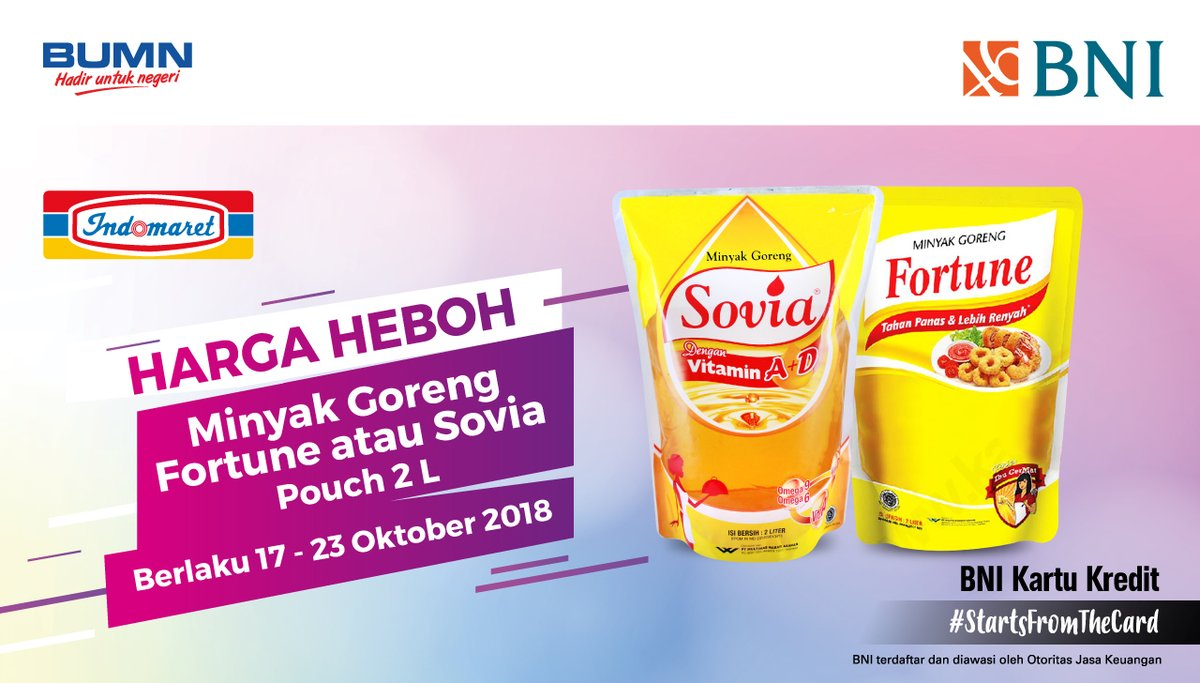 Bank BNI - Promo Heboh Minyak Goreng Fortune / Sovia pouch 2 liter di Indomaret