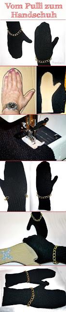 Bilderfolge zum Handschuh aus Pullover Nähen