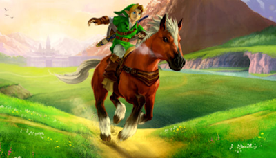 The Legend of Zelda Ocarina of Time Link riding Epona horse in Hyrule Field