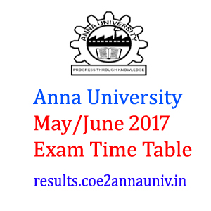 (**Time table publish Apr/May/June**) - Check Anna University exams portal