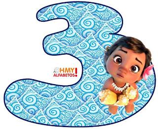Alfabeto de Moana Bebé sobre el Agua. Moana Baby Alphabet.