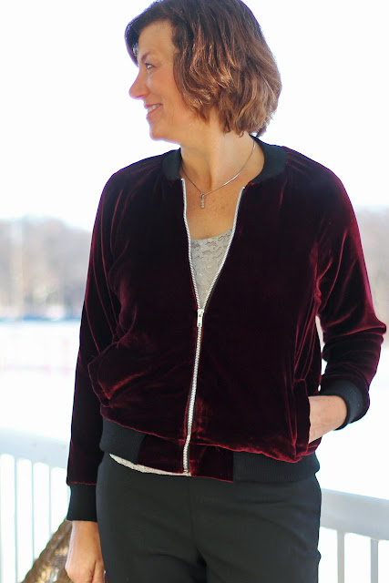 Mood Fabrics' Rayon Silk Velvet bomber jacket using McCall's 7100