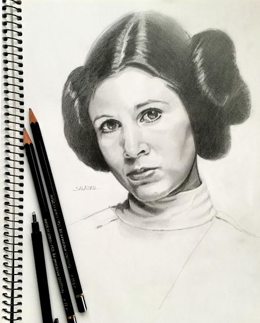 Dibujo a lápiz de Leia Organa Star Wars.