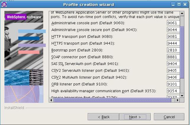 Websphere apllication server profile creation example