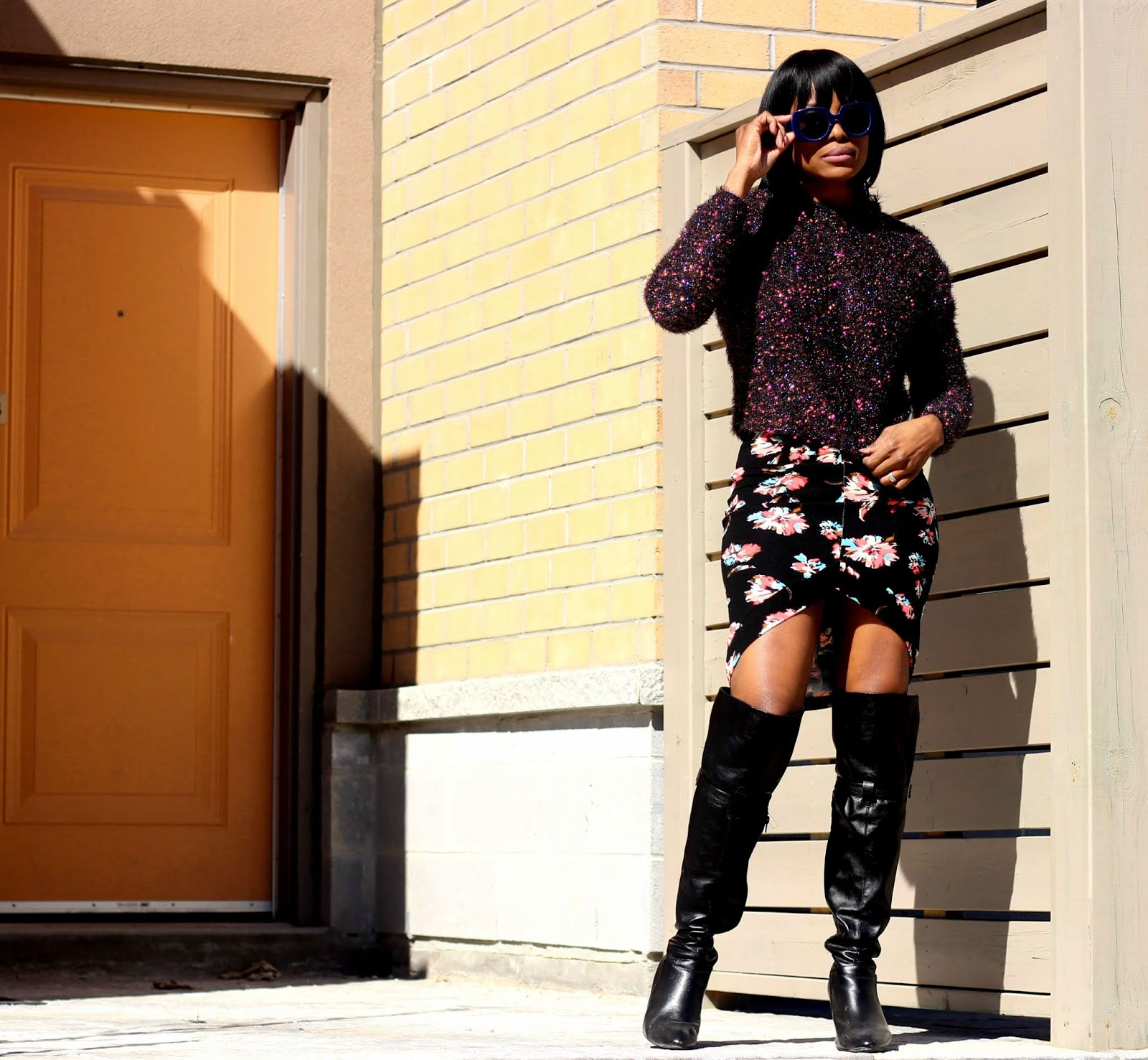 H&M Glittery Sweater Top + Floral Print Pencil Skirt by Sirens