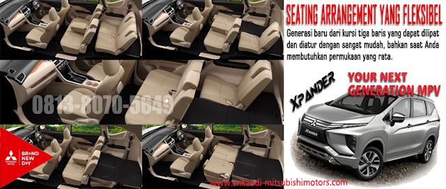 Pengaturan Tempat duduk untuk kabin yang lebih lapang dan lega untuk membawa barang anda pada Mitsubishi Xpander