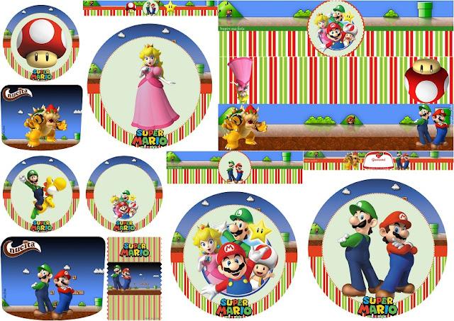 Fiesta de Super Mario Bros: Toppers y Etiquetas para Candy Bar para Imprimir Gratis.