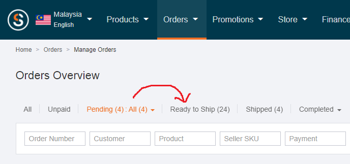 Lazada seller order status