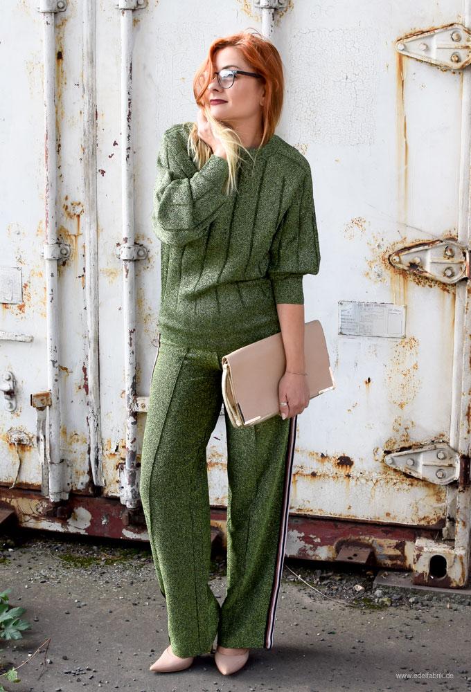 Glitzerhose von H&M in Grün, Pullover in Glitzer von H&M