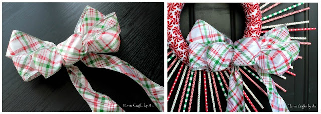 christmas holiday wreath decor DIY straws bow