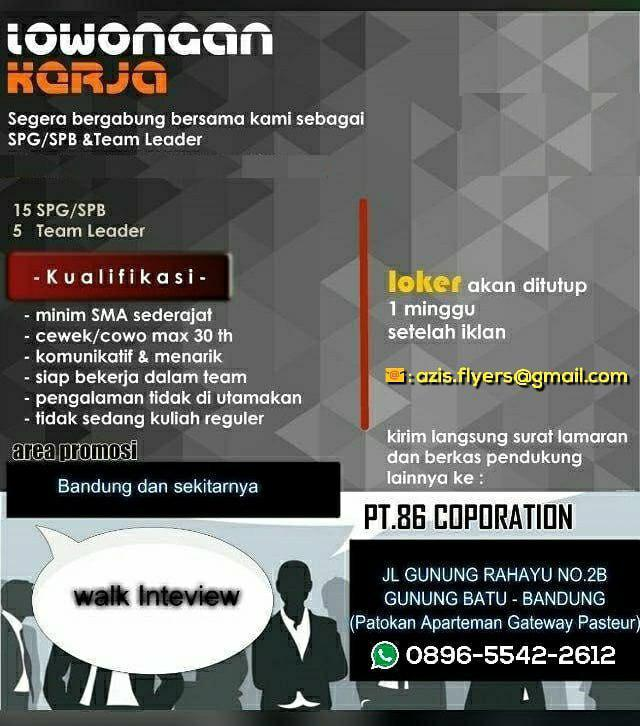 Lowongan Kerja PT. 86 Corporation Bandung