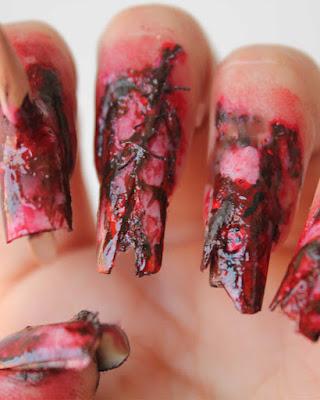 decoracion de uñas de halloween zombie