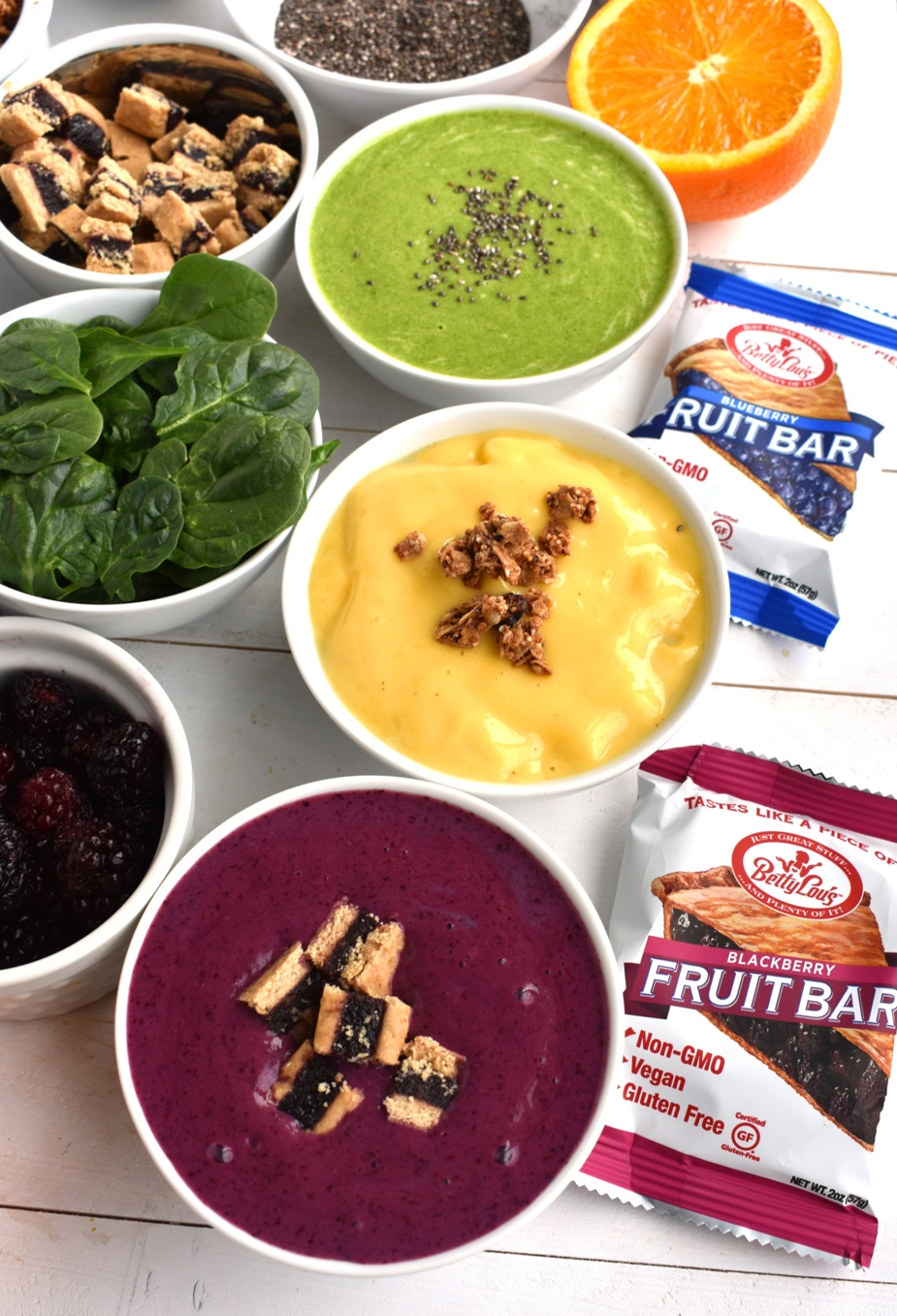 Blackberry smoothie bowl, mango smoothie bowl, banana green smoothie bowl