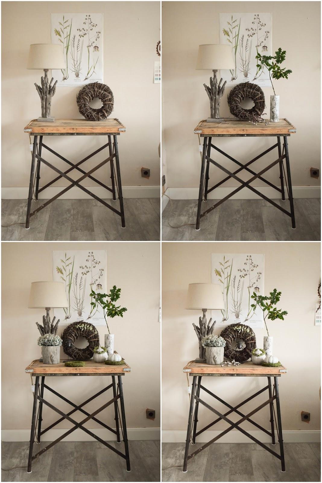 Deko Herbst für Konsole und Sideboard. Herbstdeko Dekoidee Wohnzimmer Dekoration eiche eicheln botanisch natuerlich dekorieren 2
