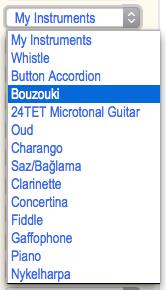 User's instrument preferences, populated from full list of world instruments. #VisualFutureOfMusic #WorldMusicInstrumentsAndTheory
