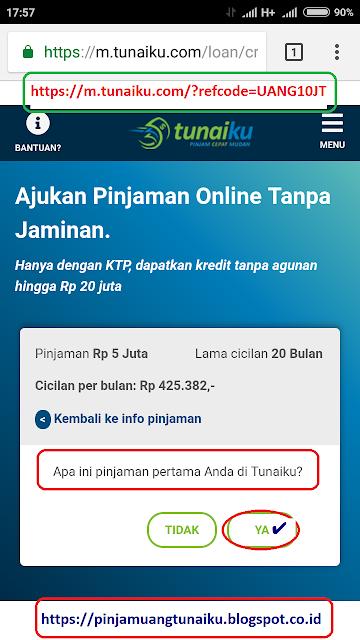 Langkah 3 pengajuan pinjaman tunaiku via link promo tunaiku https://m.tunaiku.com/?refcode=UANG10JT